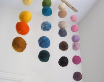 Baby Mobile- Quiet Rainbow Wool Decor- Crib Mobile, Eco Friendly Mobile, Nursery Mobile, Wool Mobile- 24 Felted Wool Balls Hanging Decor