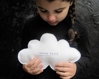 Tooth Fairy White Cloud Pillow - Hand Stamped Small Wool Cushion - Kids Bedroom Home Decor - Dreamy Gift