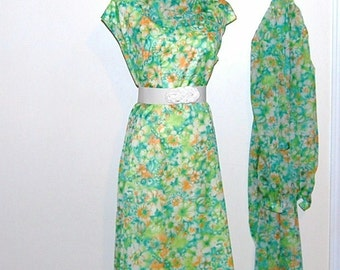 SALE........Vintage Dress Green Hues Chiffon with Wrap
