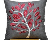 Ash Gray Pillow Cover, Decorative Throw Pillow Cover, Linen Pillow, Red Peacock Tree Embroidery, Cushion, Modern, Home Decor