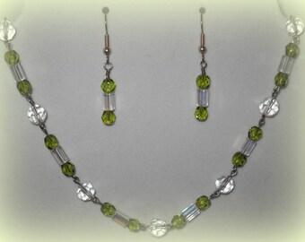 Peridot Crystal Necklace (free earrings)