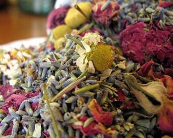 Potpourri Herbal Blend, Organic Chamomile, Lavender and Red Roses- Bulk (8 ounces) make scented sachets, bath tea & bridal shower favors