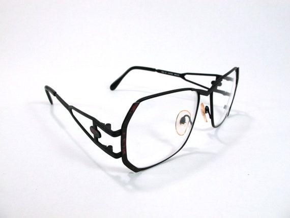 Matte Black Geometric Glasses 1980s UV Protection Frames