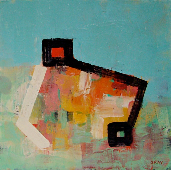 Oil Painting on Canvas, Modern Art, Abstract, Mid-Century Color House 10x10