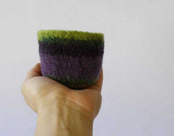 felted wool striped bowl - Morning glory colors - shades of purple and green