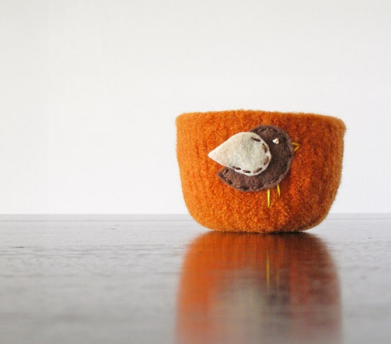 felted bowl - pumpkin orange wool bowl with dark brown and white bird