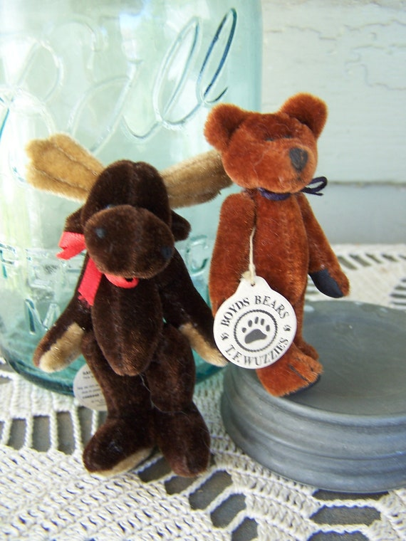 Vintage Ornaments ,  Boyd's Bears T. F. Wuzzies 3 Inch Jointed Minis , Plush Ornaments 1992