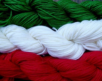 Pure wool sock yarn sport weight, green, white and red