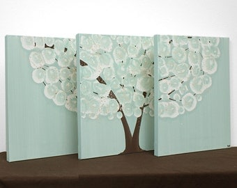 Tree Wall Art Painting on Canvas Triptych - Sea Glass and Brown - Medium 35x14