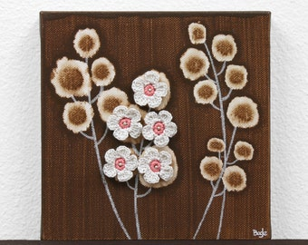 Small Flower Painting - Pink and Brown Mixed Media Original Art on Canvas - Mini 6x6