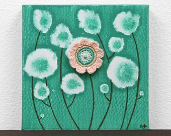 Cute Gift for Girl - Flower Painting on Canvas - Jade Green and Peach Art - Mini 6x6