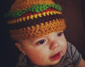 Baby Cheeseburger Beanie Hat 3-6 months - Ships Free