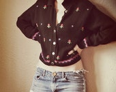 Black Floral Button-Up Sweater Jacket with Collar, size M