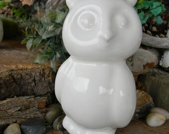Modern  Owl - Ceramic glazed Horned  Hoot owl Home and garden statue