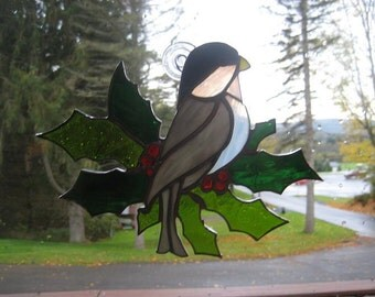 Stained Glass Chickadee on a Pointsetta