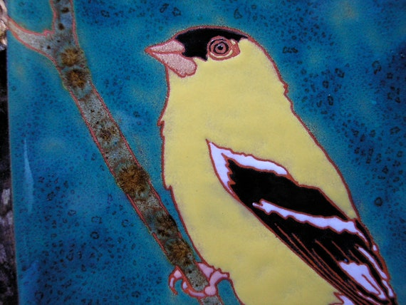 Goldfinch bird tile in arts and crafts style, fine detail for birders, kitchen, bath, fireplace surround or framed