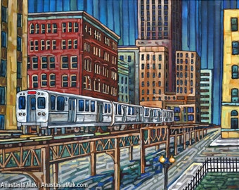 The El Train in downtown Chicago 5x7 Art Print by Anastasia Mak