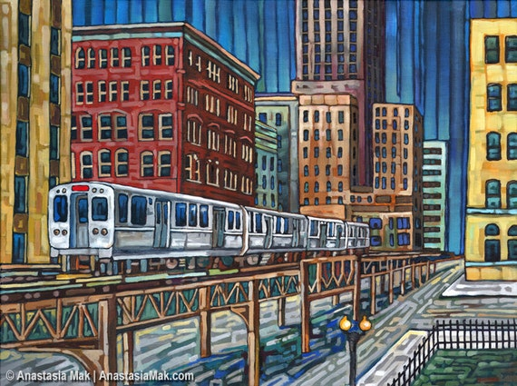 The El Train In Downtown Chicago 5x7 Art Print By Anastasia