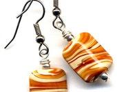 Caramel Swirl Earrings, Caramel Earrings, Surgical Steel Earrings, Handmade Jewelry by AnnaArt72