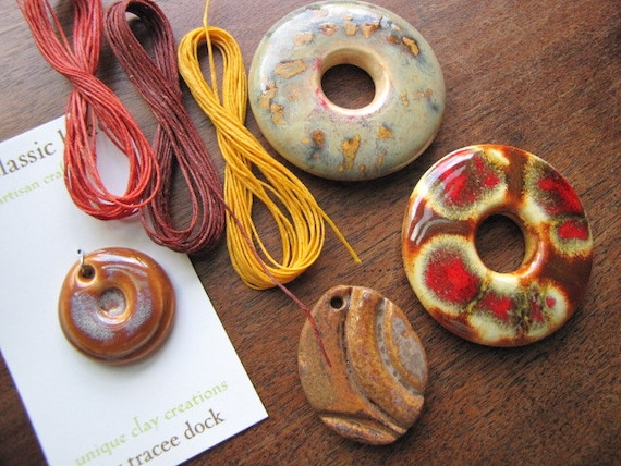 Fall Mix of Handcrafted Pendants and Waxed Linen Cord