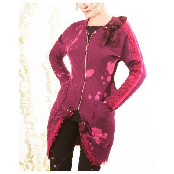 SALE Bamboo Cardigan handmade fuchsia ready to wear ECO Fashion Red violet