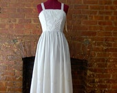 vintage 1970s white lace sundress, size small ( s )