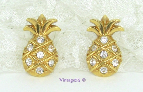 Vintage Earrings Rhinestone Pineapple Gold tone Avon
