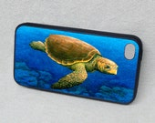 Loggerhead Turtle Art, Rubber iPhone 5 or 5s case, cover, iPhone 4 or 4s