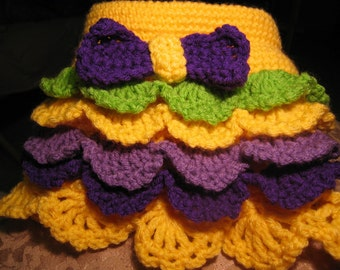 Hand Crocheted Yellow Green Purple Lavender Ruffle Skirt Set w Booties n Hat