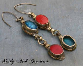 Turquoise and Red Kuchi Assemblage Earrings