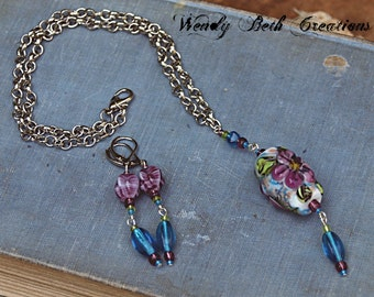 Necklace and Earring Set - Handmade Lampwork Glass Bead - Wild Rose