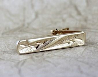 Retro Vintage Tie Bar - Gold Tone Finish - Vintage Men's Jewellery - Formal Wear Accessory - Grooms Gift