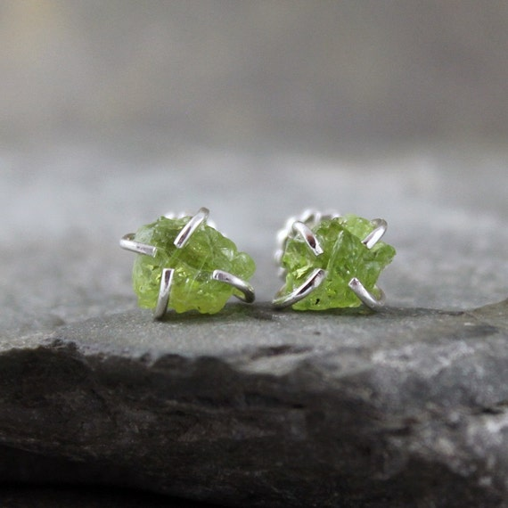 Uncut Raw Rough Peridot Earrings - Sterling Silver Stud Style Earrings - August Birthstone - Handmade and Designed by A Second Time