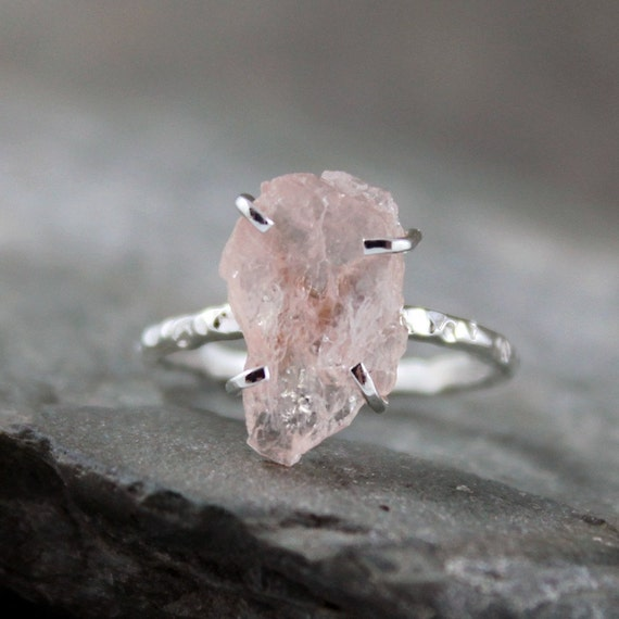 Morganite Ring - Raw Uncut Rough Morganite - Sterling Silver Ring - Handmade and Designed by A Second Time