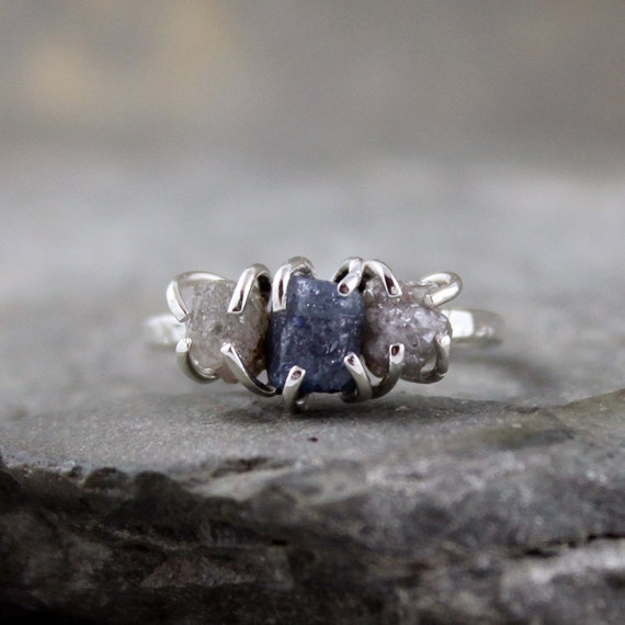 Three Stone Rough Diamonds and Rough Denim Blue Sapphire and Sterling Silver Ring  - Handmade and Designed by A Second Time