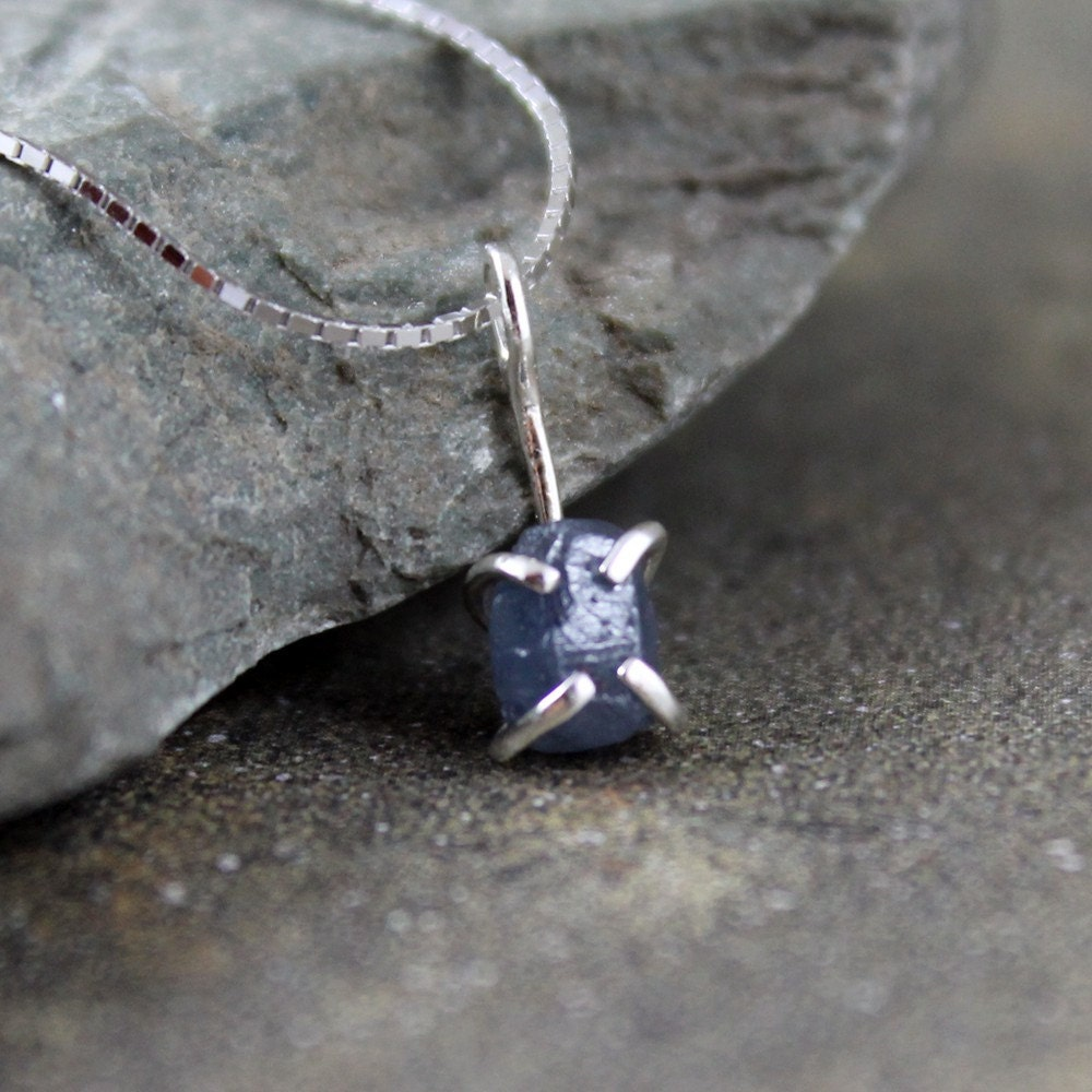 Uncut Raw Rough Blue Sapphire Pendant Sterling SilverUnpolished Sapphire Necklace