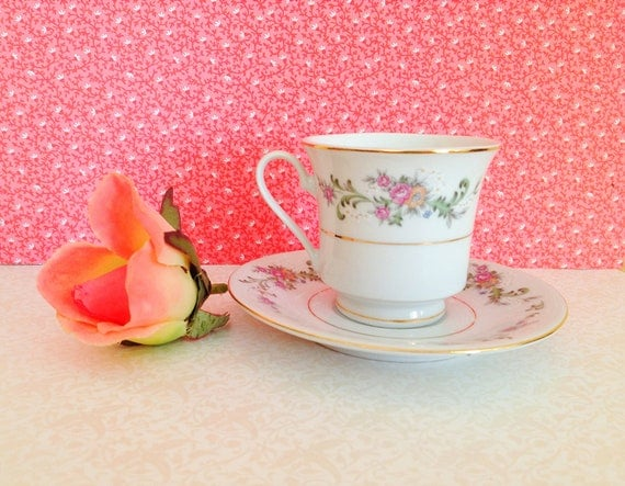 Vintage Miniature Teacup & Saucer. Espresso. Floral. Alice in Wonderland. Small Teacup. Fine China. Lynns. Serving. Home Decor. Shabby Chic.