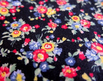 FREE SHIPPING Japanese Floral Fabric - Country Floral on Black (F061) - Fat Quarter