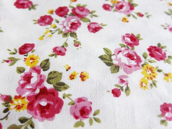 Japanese Cotton Fabric - Dark Red Roses - Half Yard