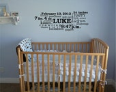 Customized Baby Boy Subway Art vinyl lettering wall decal sticker