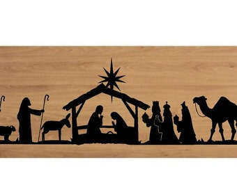 Nativity Scene-fits in 8x20 frame or piece of wood vinyl lettering wall decal sticker craft