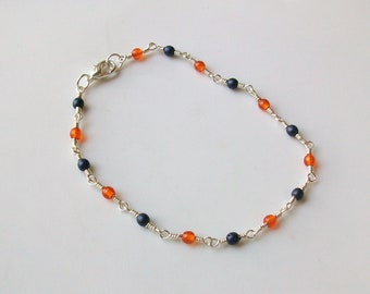 Navy Blue and Orange Glass Bead Wire Wrapped Chain Link Anklet - Ankle Bracelet
