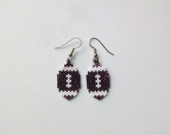 Maroon and White Beaded Football Earrings