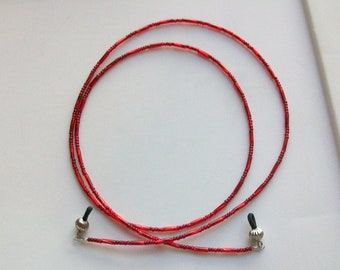 Twisted Ruby Red Glass Beaded Eyeglass Chain Lanyard