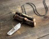 Wychwood. Rustic Birch and Quartz Crystal Necklace.