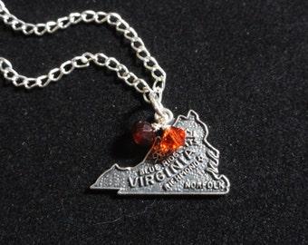 Virginia Tech Hokies Necklace- Virginia State Map Vintage Sterling Silver Charm- Orange & Maroon Red Beaded Pendant- Virginia Tech Necklace