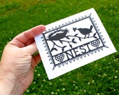 Feather Your Nest Notecard for New Baby or New Home