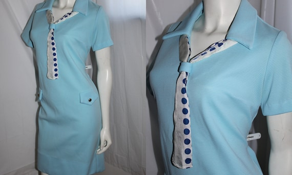Baby Blue Scooter Dress with Pockets brass buttons