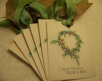 Christmas Tags Christmas Birds Wreath Gift Tags Handmade Vintage Style - Set of 6 or 9