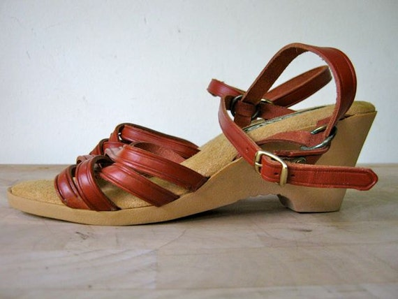 vintage italian leather strappy wedge sandals 7